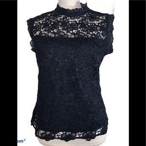 NWT NANETTE LEPORE Lace Crochet Sleeveless Blouse
